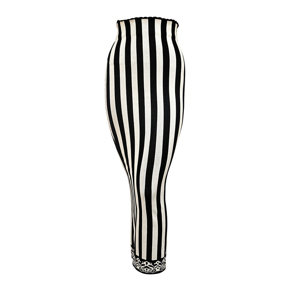 1992 AZZEDINE ALAIA black and white striped skirt For Sale