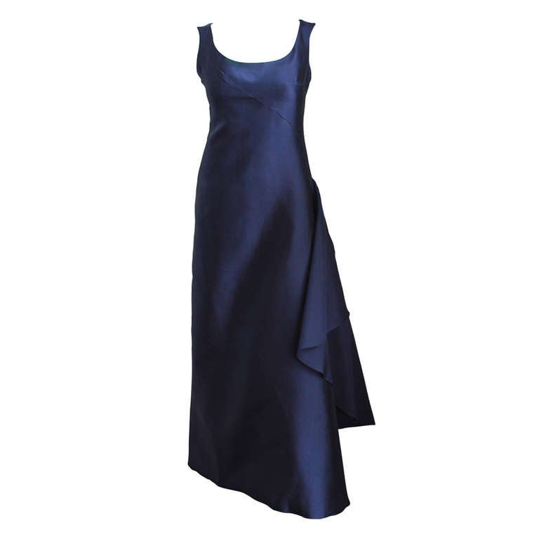 1996 BALENCIAGA navy blue runway gown with asymmetrical swag For Sale
