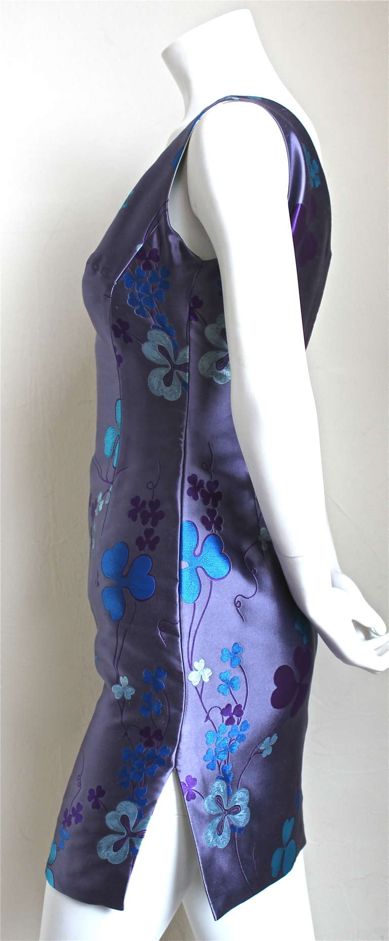 Purple 1993 ATELIER VERSACE couture silk floral mini dress For Sale
