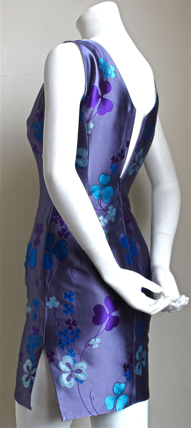 1993 ATELIER VERSACE couture silk floral mini dress In Excellent Condition For Sale In San Fransisco, CA