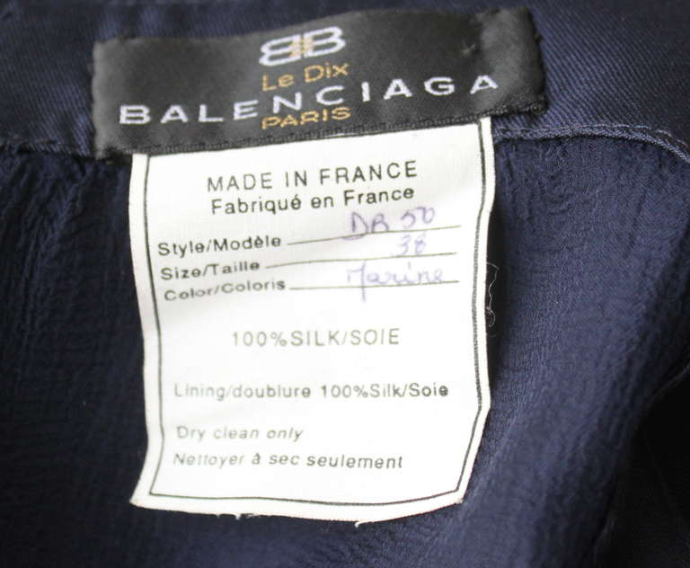 1996 BALENCIAGA navy blue runway gown with asymmetrical swag In Excellent Condition For Sale In San Francisco, CA