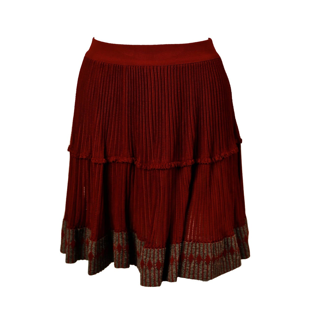 1990's AZZEDINE ALAIA cinnamon semi sheer skirt with contrasting trim For Sale