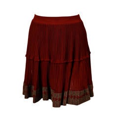 1990's AZZEDINE ALAIA cinnamon semi sheer skirt with contrasting trim