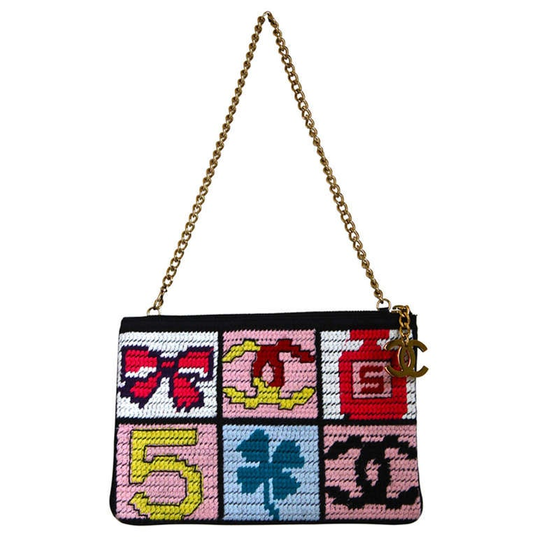 CHANEL needlepoint lucky charms patchwork pochette bag with gilt hardware