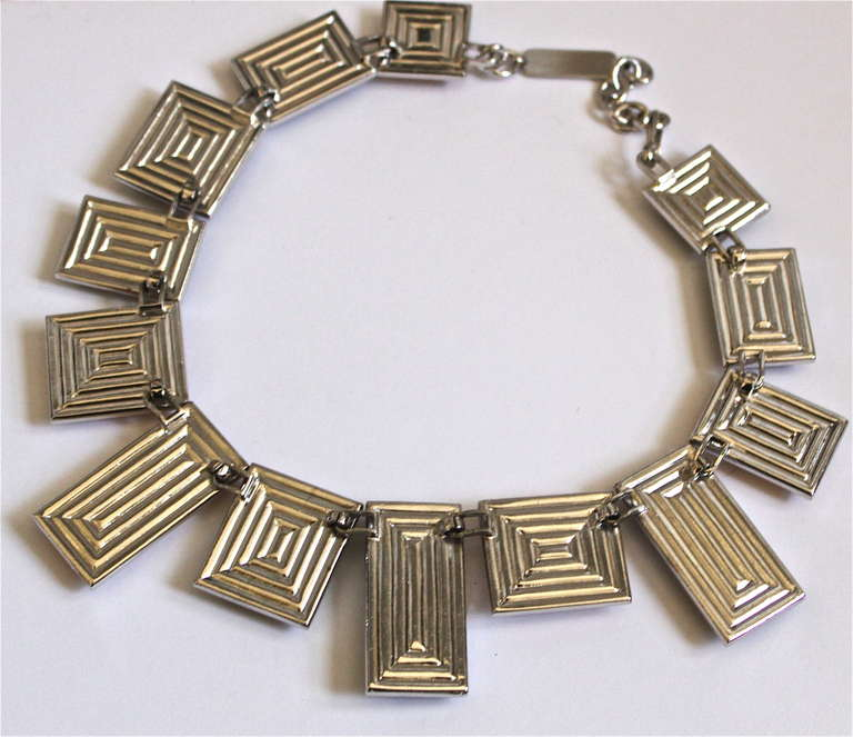 very rare YVES SAINT LAURENT silver numbered necklace with poured glass 2