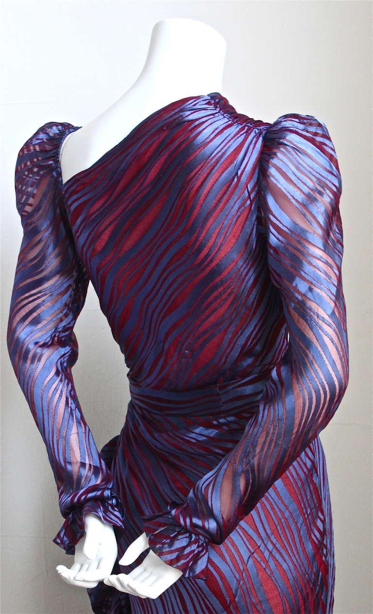 Black 1970's YVES SAINT LAURENT asymmetrical silk dress with flounce For Sale