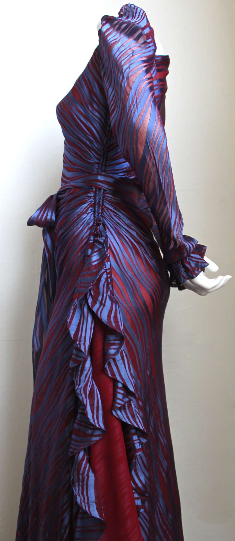 1970's YVES SAINT LAURENT asymmetrical silk dress with flounce In Good Condition For Sale In San Fransisco, CA