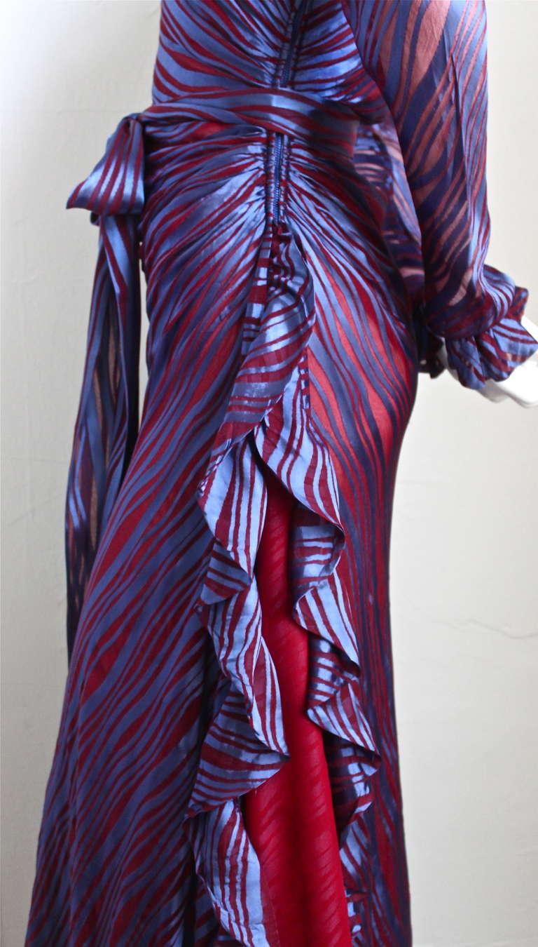 Women's 1970's YVES SAINT LAURENT asymmetrical silk dress with flounce For Sale