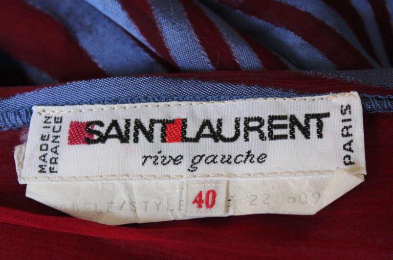 1970's YVES SAINT LAURENT asymmetrical silk dress with flounce For Sale 1