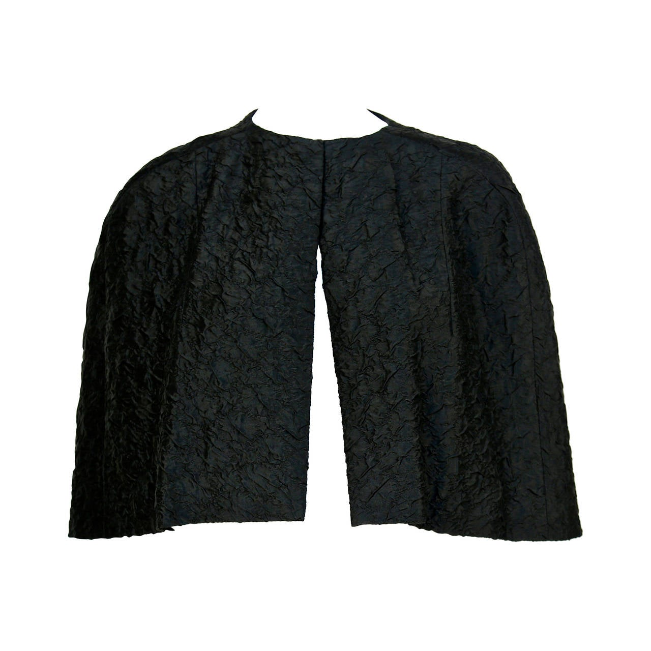 1960's CRISTOBAL BALENCIAGA EISA haute couture black silk capelet 1