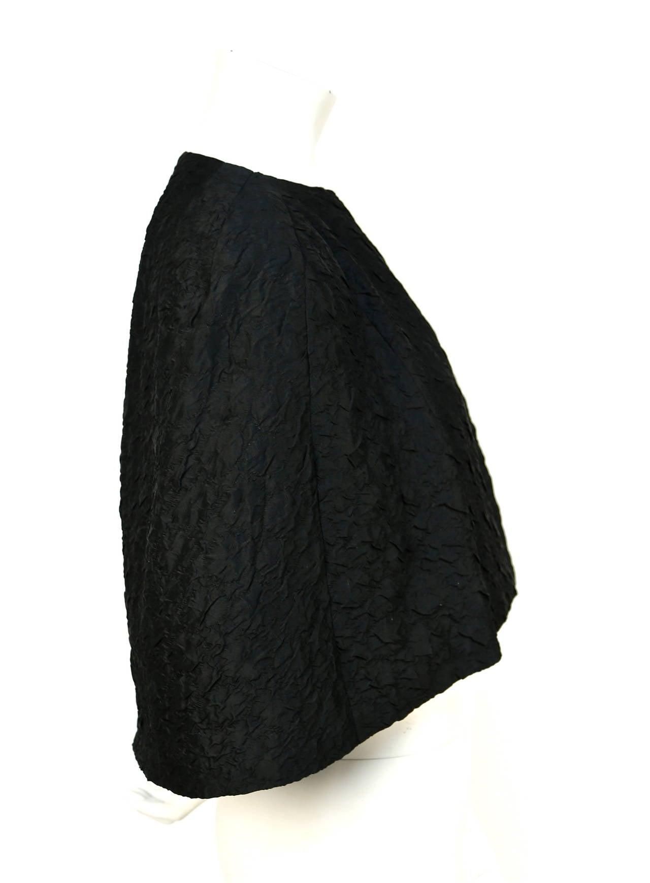 1960's CRISTOBAL BALENCIAGA EISA haute couture black silk capelet 3