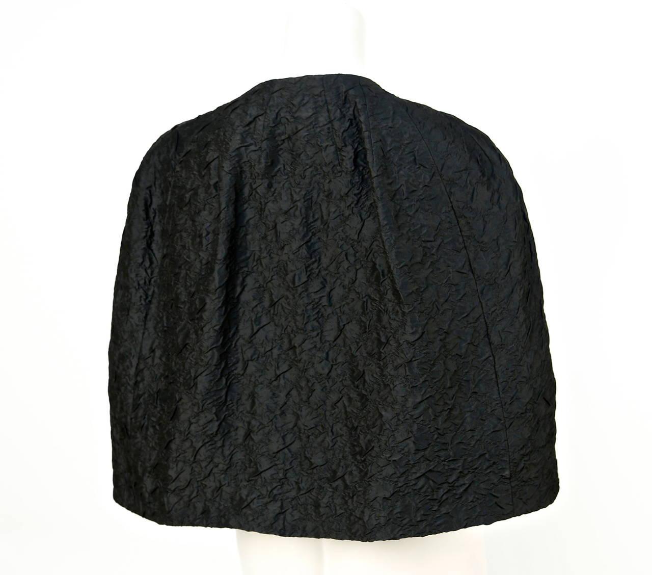 1960's CRISTOBAL BALENCIAGA EISA haute couture black silk capelet 4