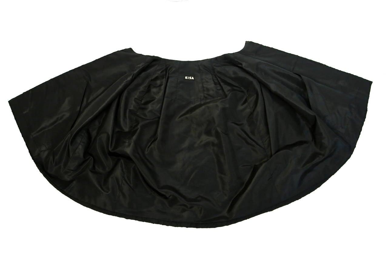 1960's CRISTOBAL BALENCIAGA EISA haute couture black silk capelet 5