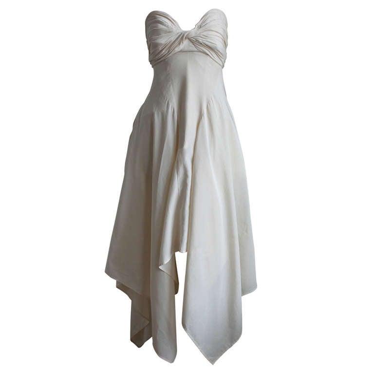 1990's YOHJI YAMAMOTO cream strapless gown with shirring 1