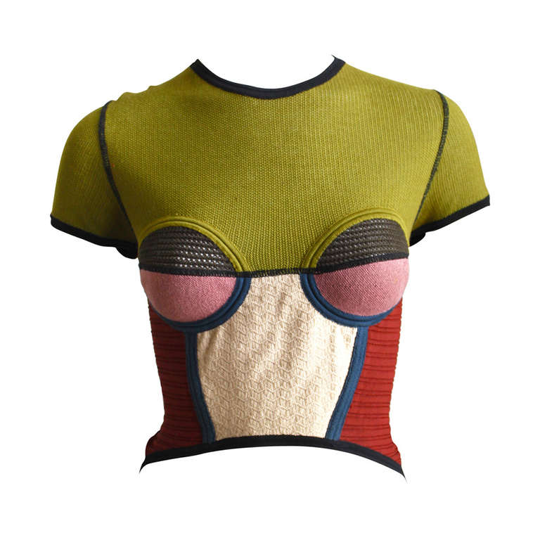 very rare 1990's JEAN PAUL GAULTIER knit top with hi-low hemline 1