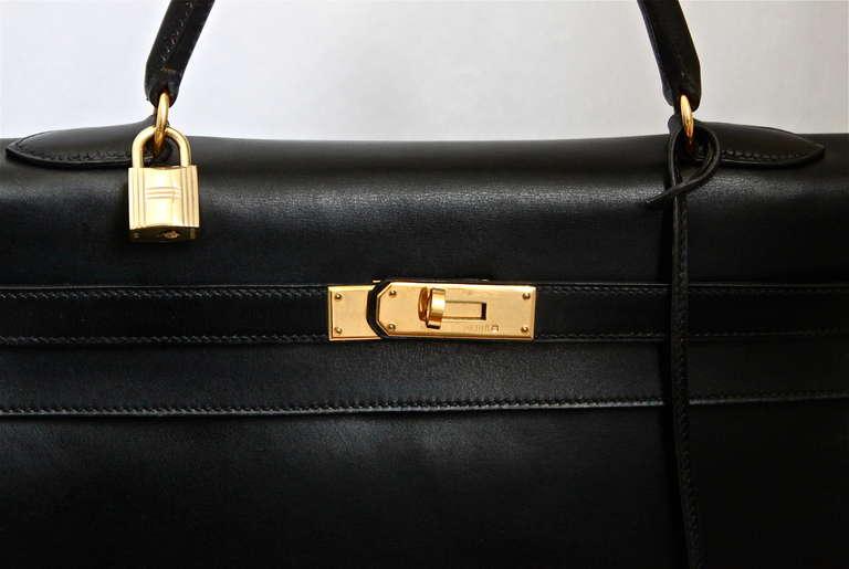 HERMES KELLY retourne 35 cm black veau box leather with shoulder ...