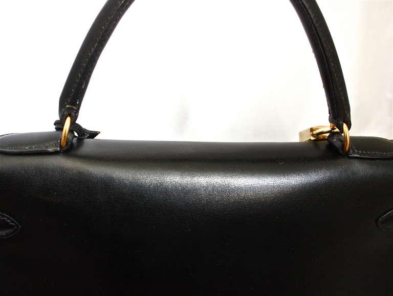 hermes wallet sale - HERMES KELLY retourne 35 cm black veau box leather with shoulder ...