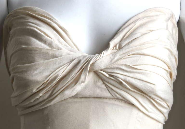 1990's YOHJI YAMAMOTO cream strapless gown with shirring 3