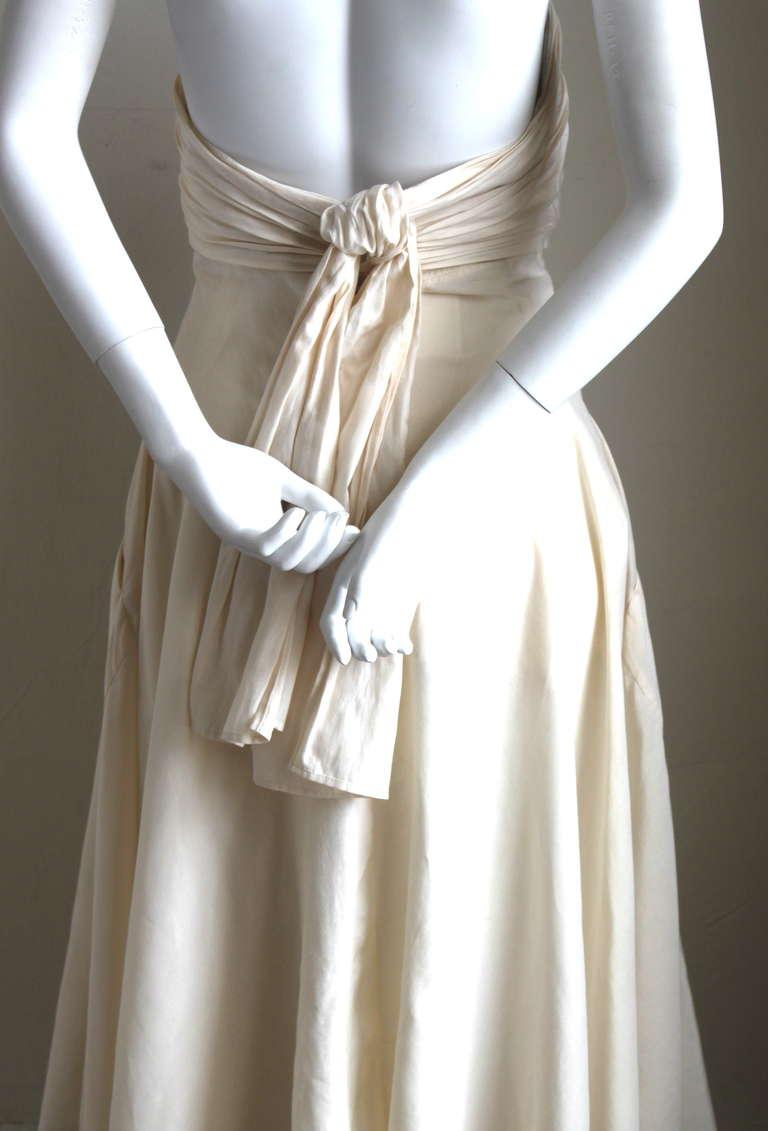 1990's YOHJI YAMAMOTO cream strapless gown with shirring 4