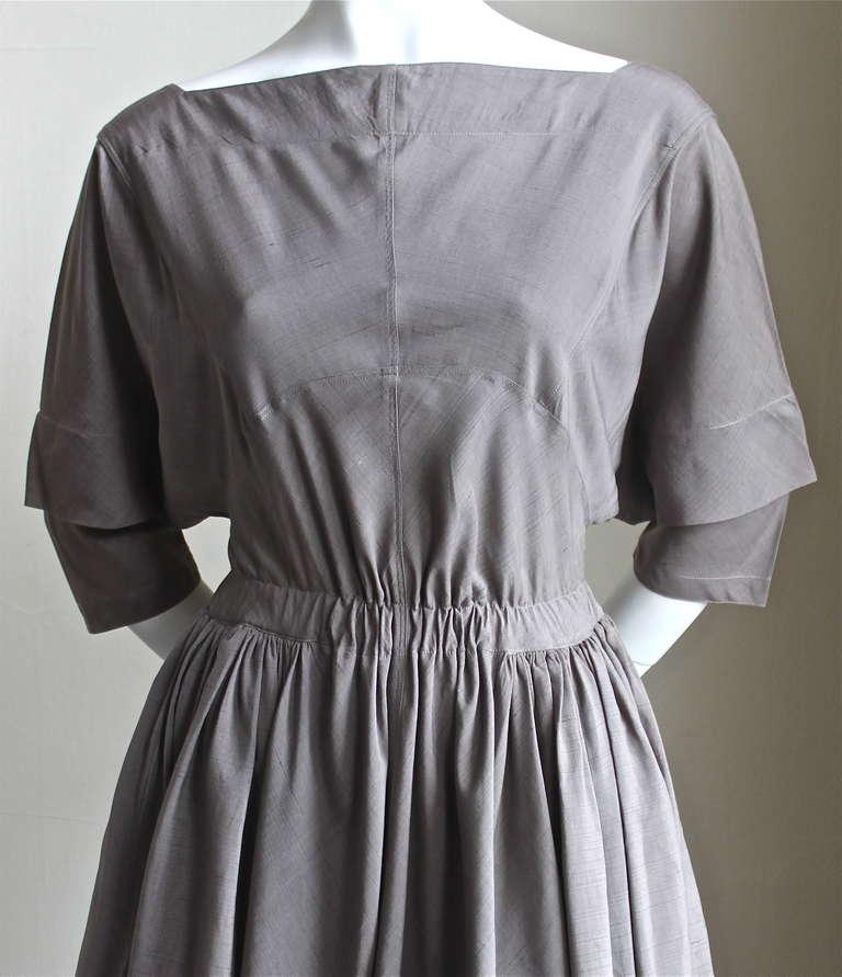 very rare 1980's AZZEDINE ALAIA taupe raw silk dress 2
