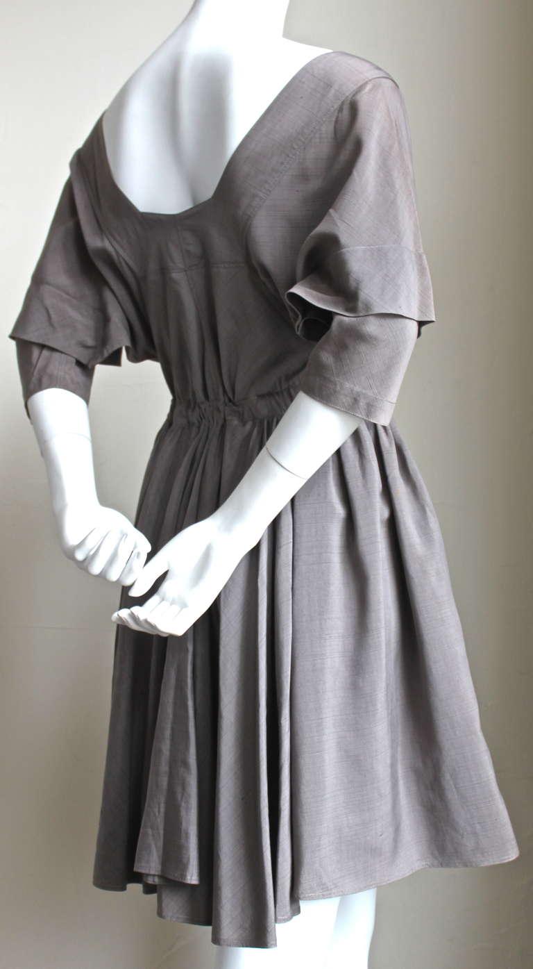 very rare 1980's AZZEDINE ALAIA taupe raw silk dress 3