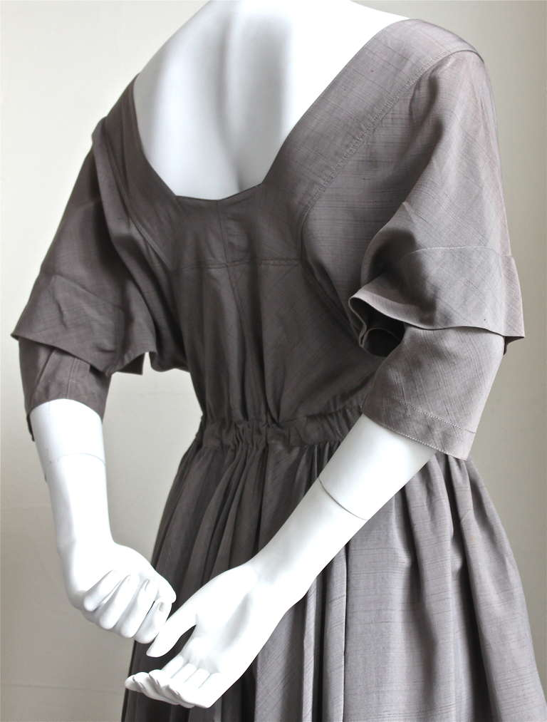 very rare 1980's AZZEDINE ALAIA taupe raw silk dress 4