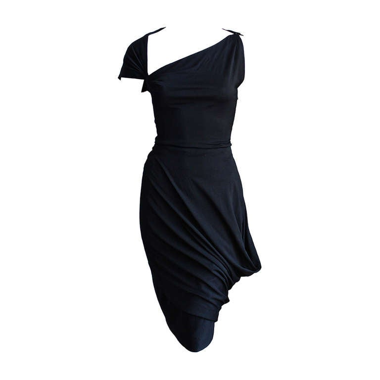 1950's PEDRO RODRIGUEZ haute couture asymmetrical draped wool jersey dress For Sale