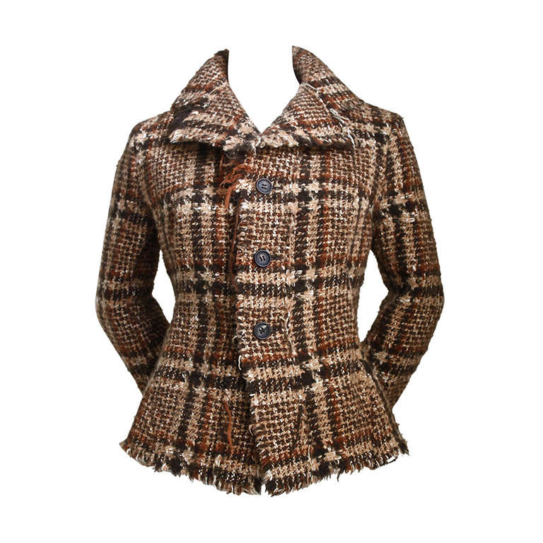 JUNYA WATANABE COMME DES GARCONS tweed plaid jacket with raw edges 1