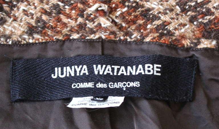 Women's JUNYA WATANABE COMME DES GARCONS tweed plaid jacket with raw edges