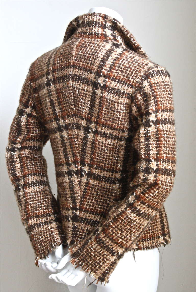JUNYA WATANABE COMME DES GARCONS tweed plaid jacket with raw edges 2
