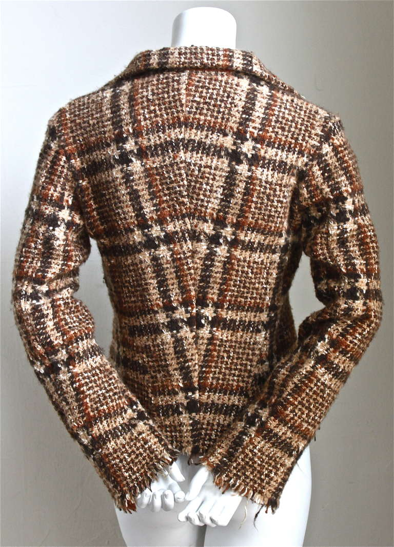 JUNYA WATANABE COMME DES GARCONS tweed plaid jacket with raw edges In Excellent Condition In San Fransisco, CA