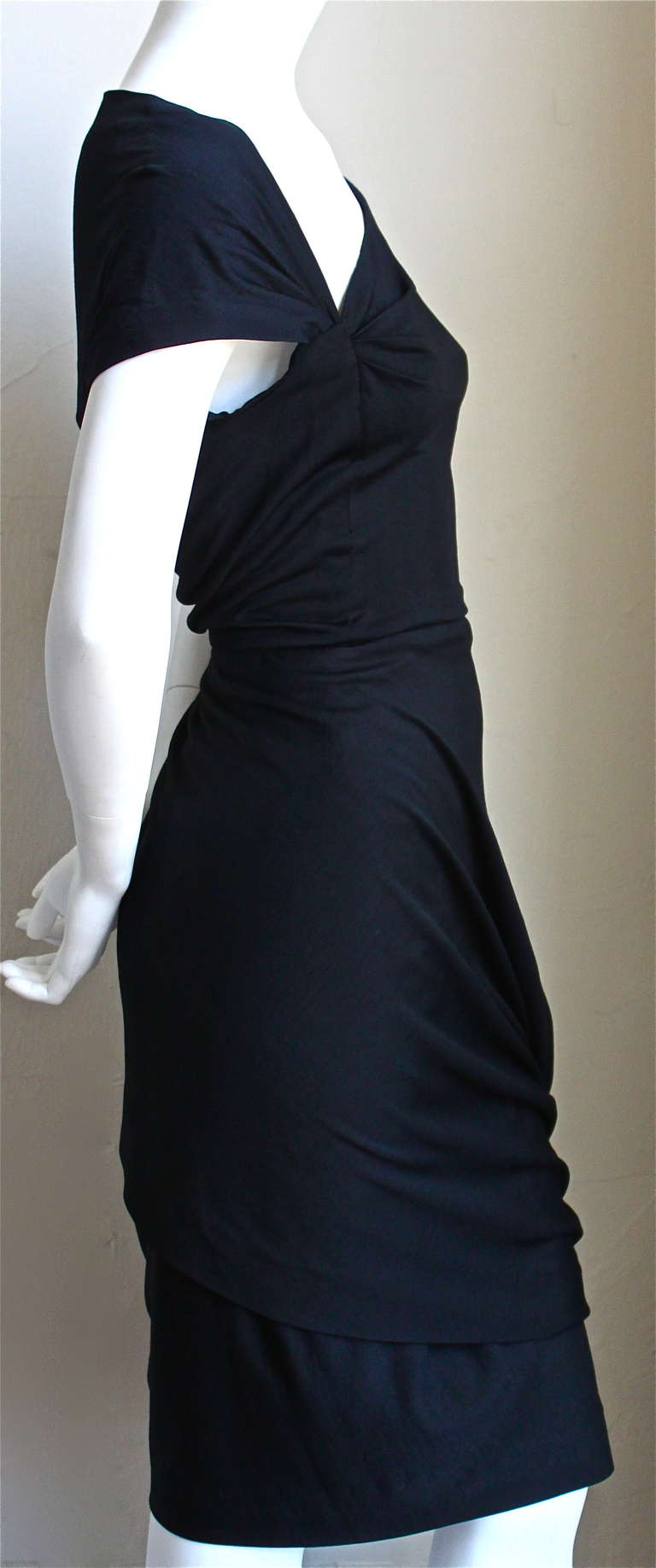 Black 1950's PEDRO RODRIGUEZ haute couture asymmetrical draped wool jersey dress For Sale