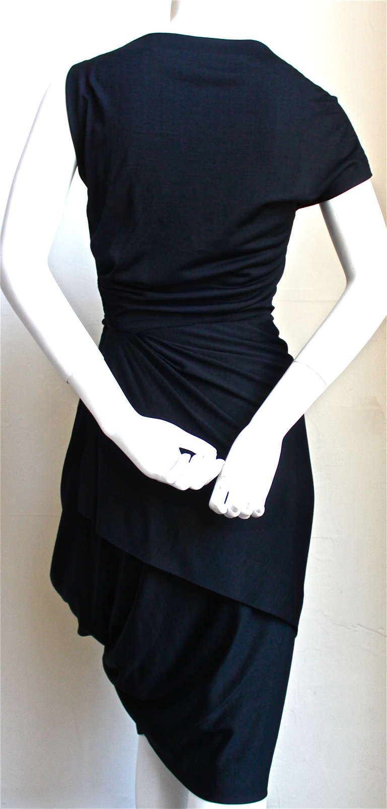 1950's PEDRO RODRIGUEZ haute couture asymmetrical draped wool jersey dress 6