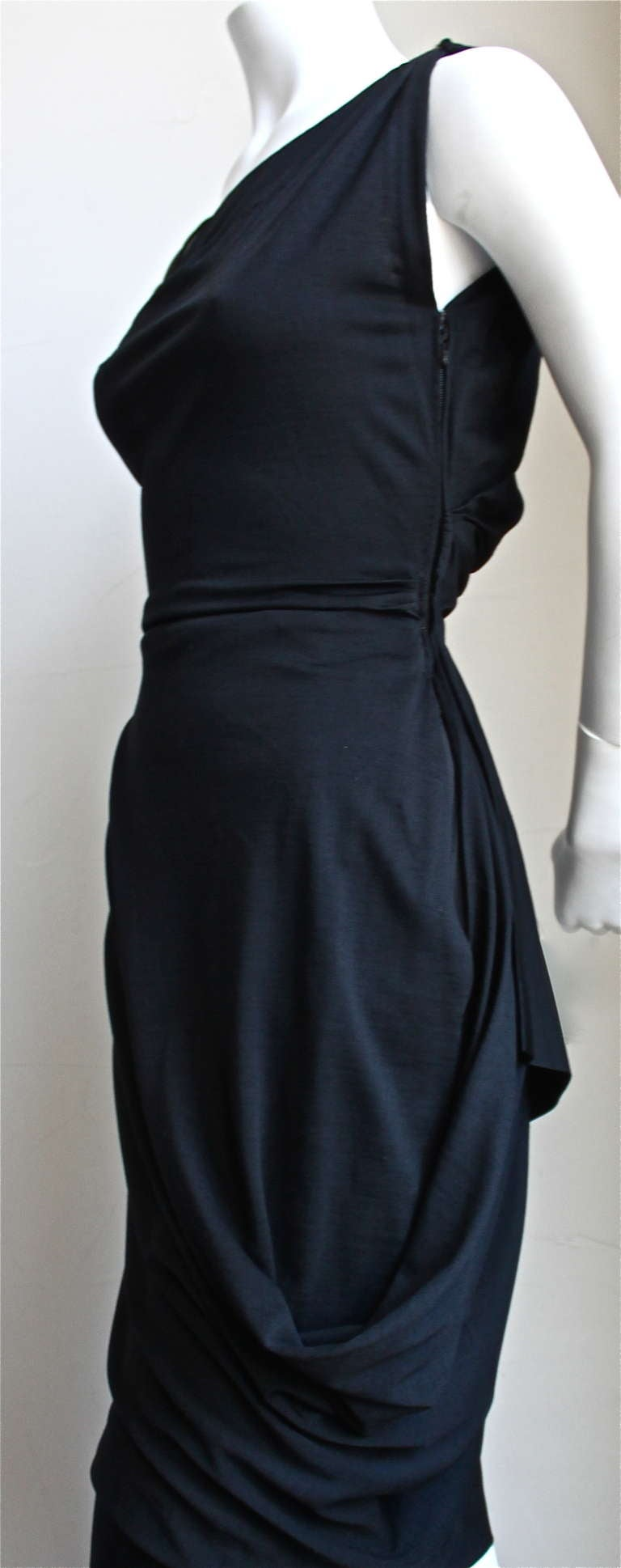 1950's PEDRO RODRIGUEZ haute couture asymmetrical draped wool jersey dress In Excellent Condition For Sale In Oakland, CA