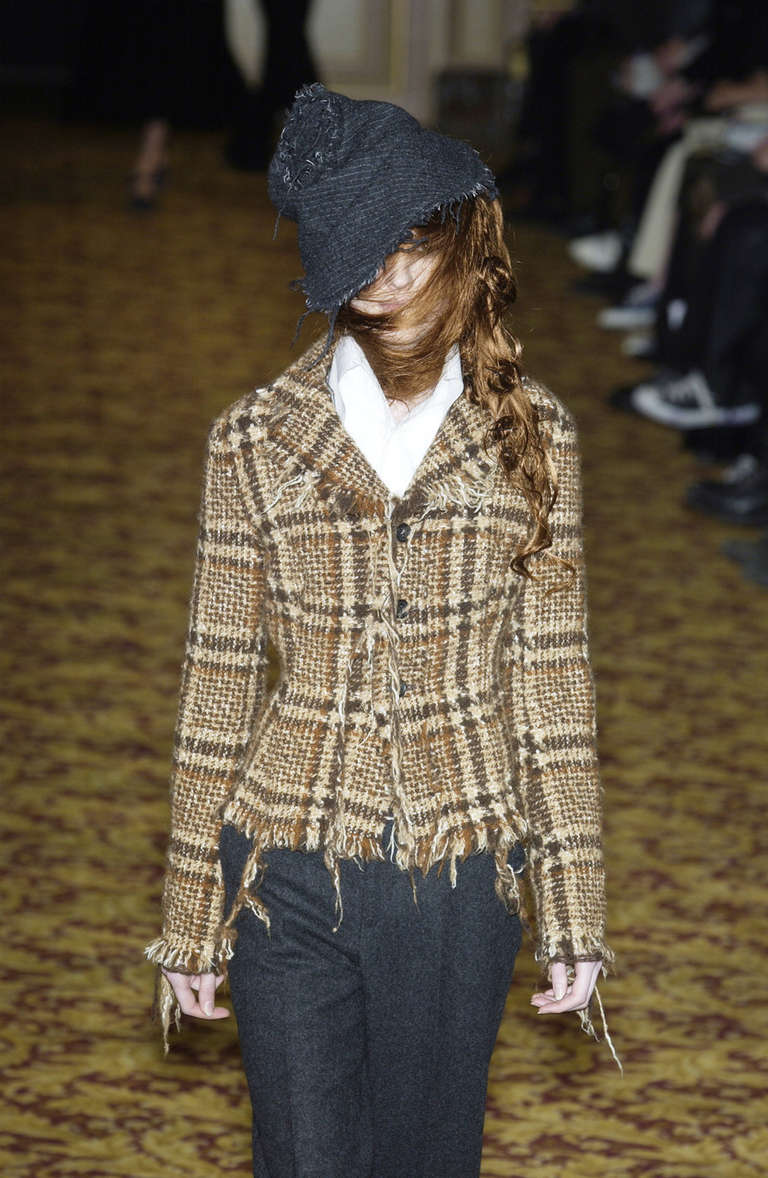 JUNYA WATANABE COMME DES GARCONS tweed plaid jacket with raw edges 5