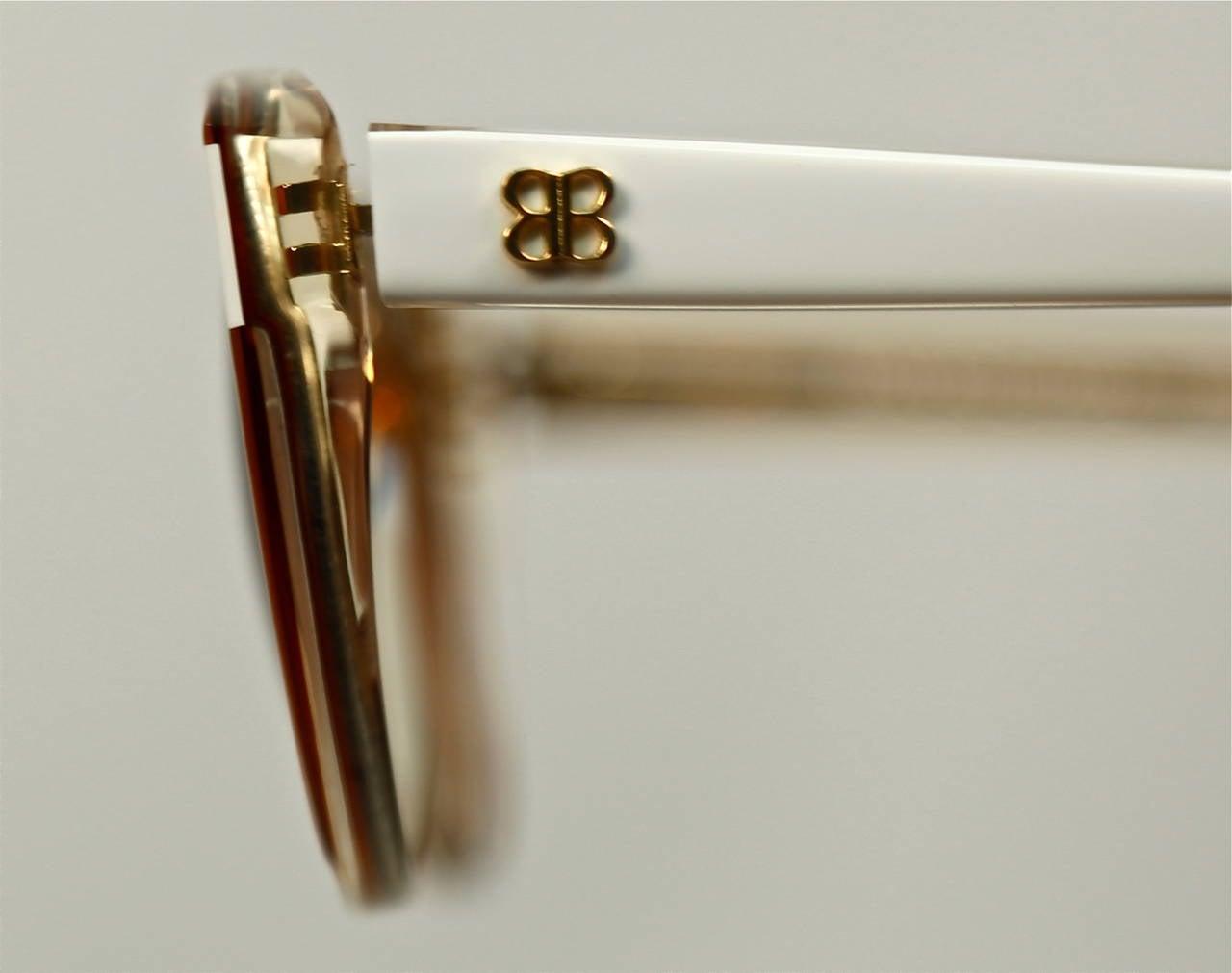 80's BALENCIAGA transparent champagne & opaque white plastic sunglasses - unworn 2