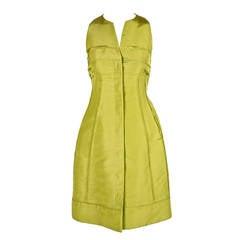 CHADO RALPH RUCCI chartreuse silk runway dress
