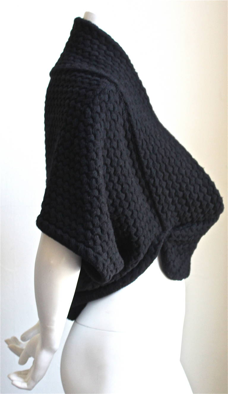 Black AZZEDINE ALAIA jet black basket weave shrug For Sale