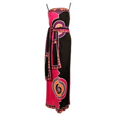 Emilio Pucci silk printed jersey dress with matching belt, 1970s