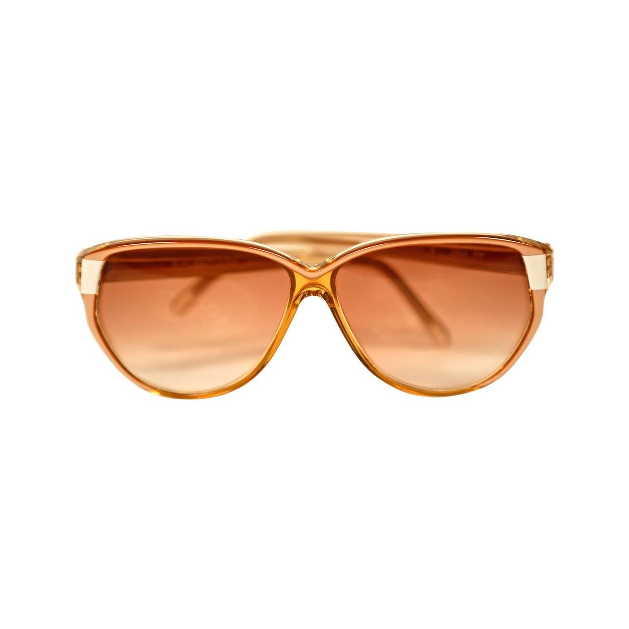 80's BALENCIAGA transparent champagne & opaque white plastic sunglasses - unworn 1
