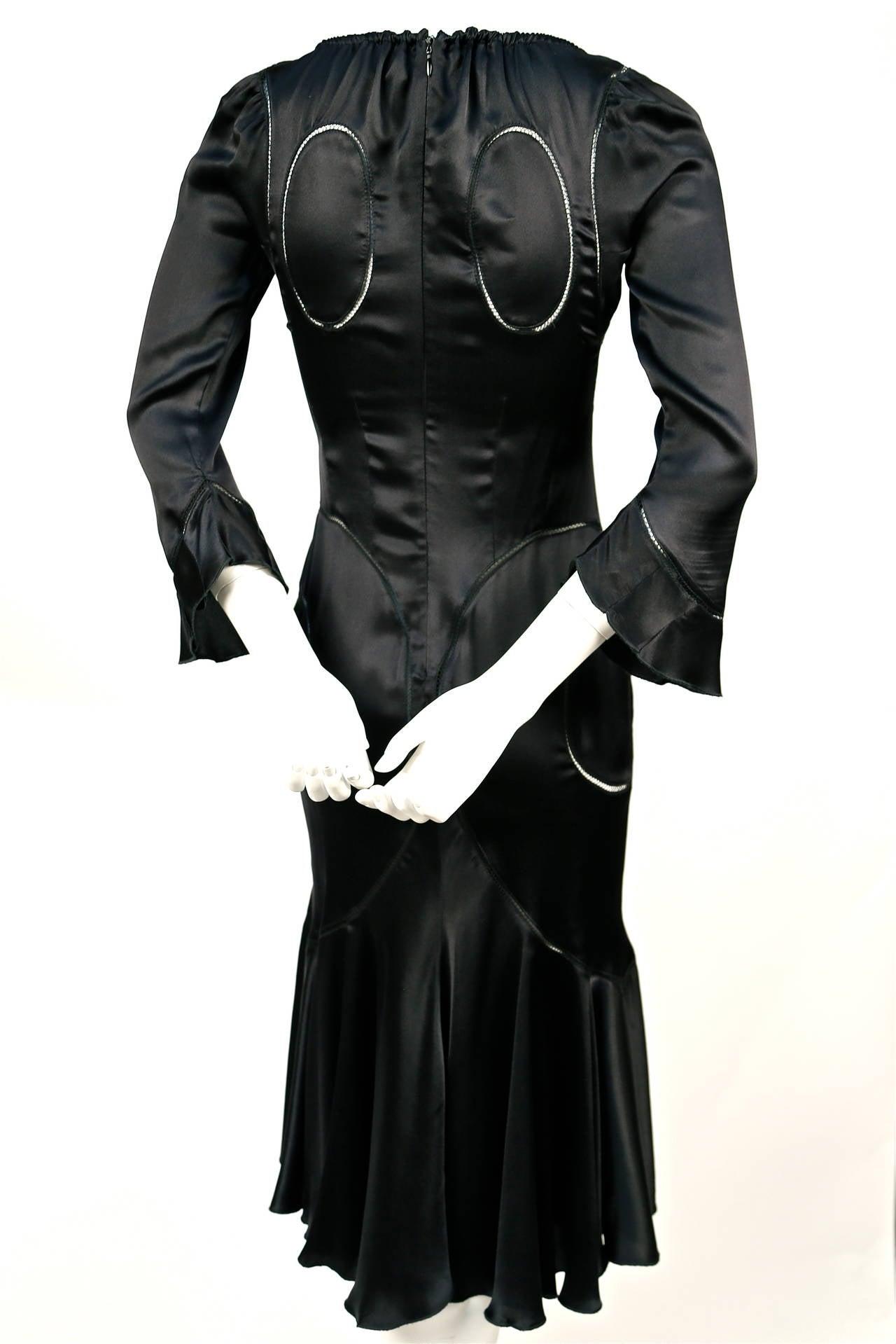 Black Alexander McQueen black silk charmeuse dress, 2002   For Sale