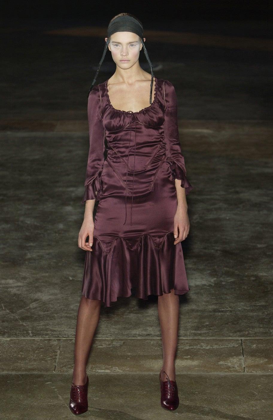 Women's Alexander McQueen black silk charmeuse dress, 2002   For Sale