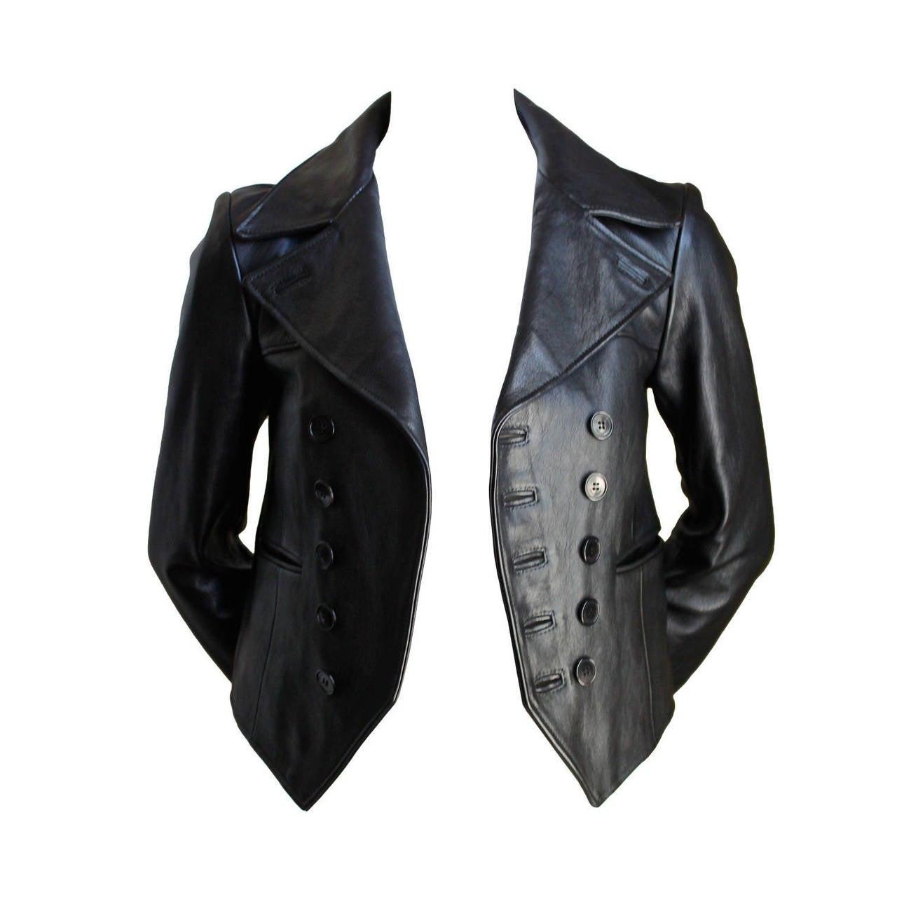 HEDI SLIMANE for SAINT LAURENT  black leather runway leather jacket - NEW 1