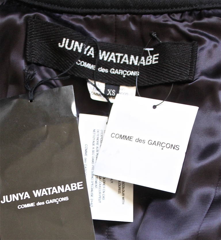 new JUNYA WATANABE COMME DES GARCONS jet black runway leather cape jacket In New Never_worn Condition For Sale In San Fransisco, CA