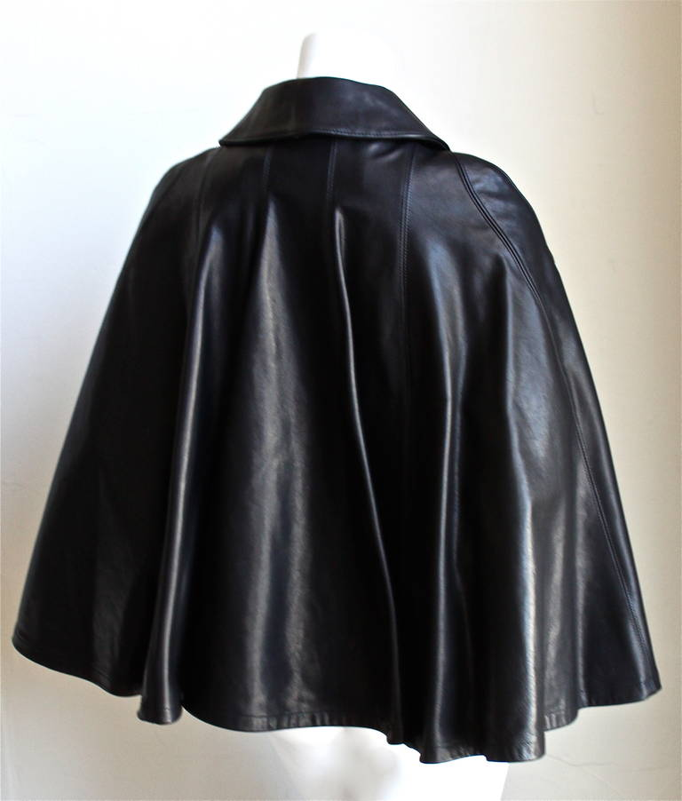 Black new JUNYA WATANABE COMME DES GARCONS jet black runway leather cape jacket For Sale