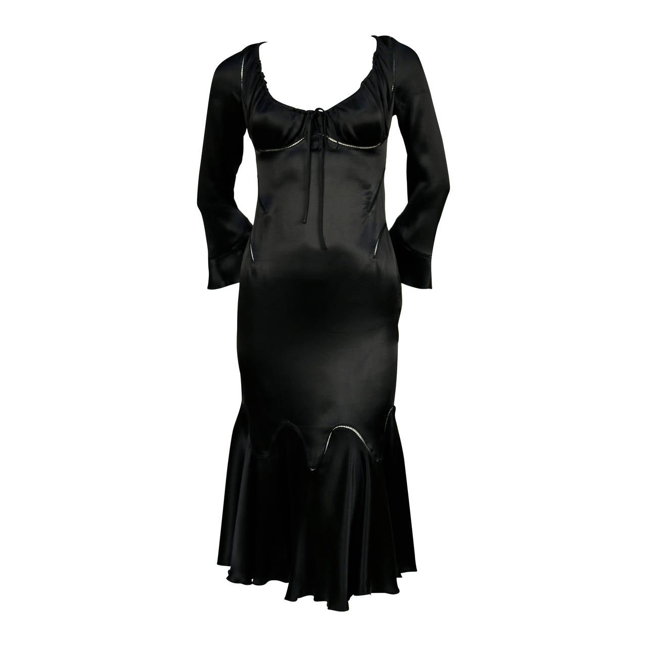 Alexander McQueen black silk charmeuse dress, 2002   For Sale