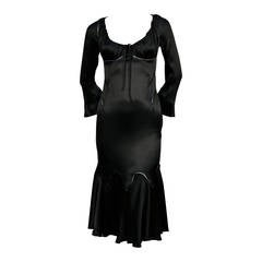 very rare 2002 ALEXANDER MCQUEEN black silk charmeuse dress