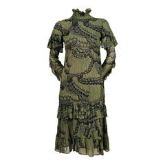 1970 THEA PORTER 'peacock feather' cotton voile dress