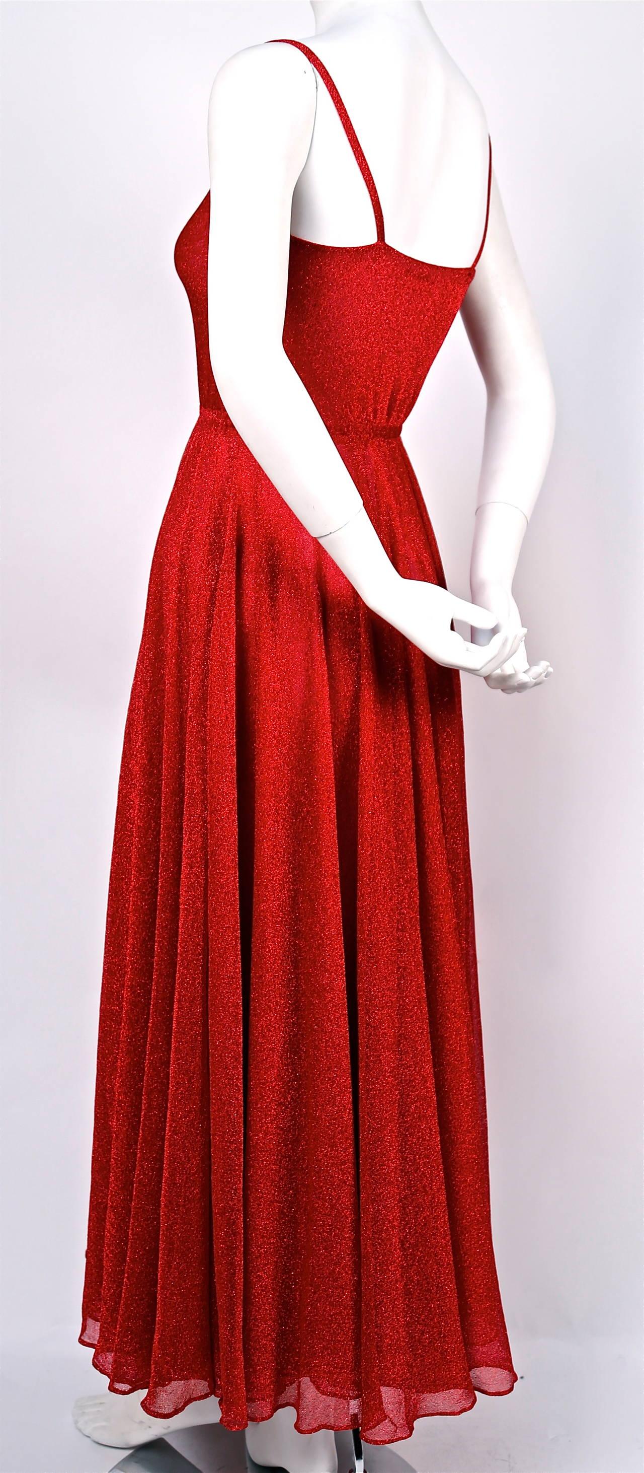 Red Halston fuchsia lurex dress, 1970s  For Sale