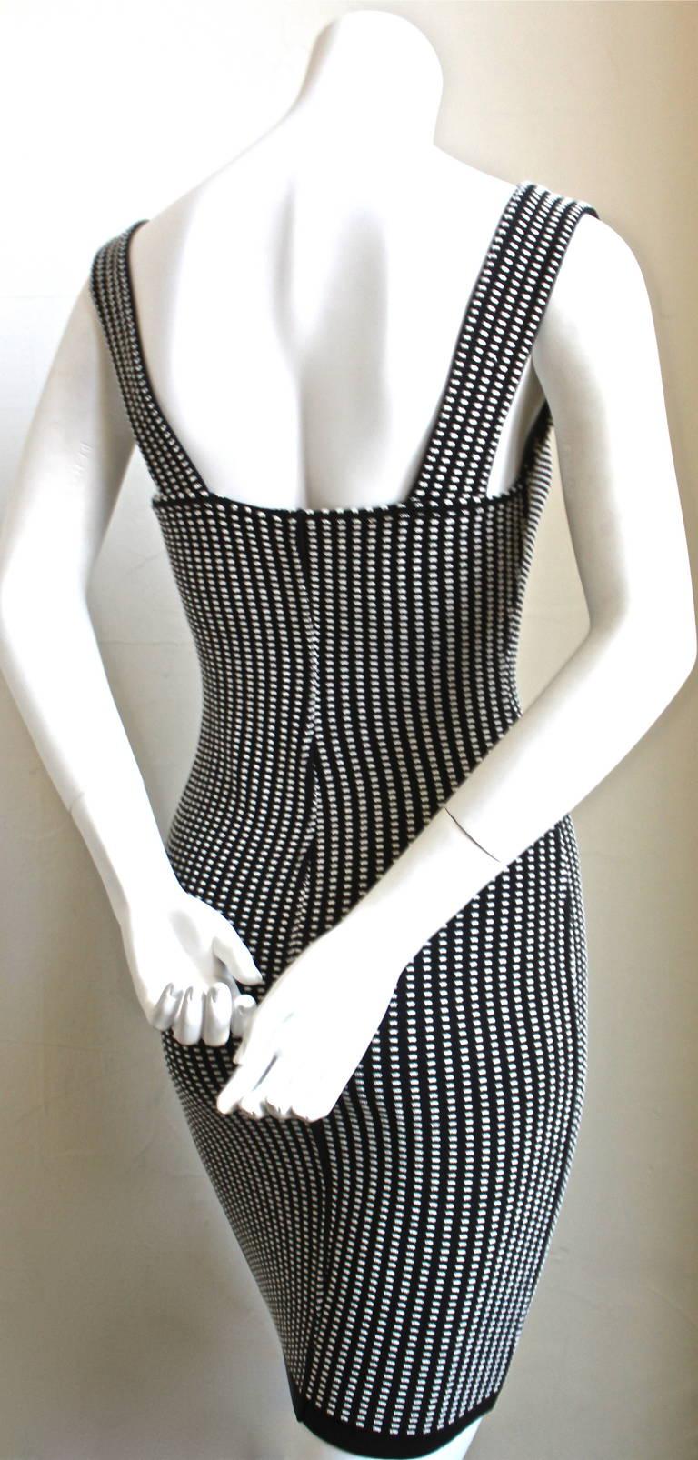 1990's AZZEDINE ALAIA black and white textured mini dress - Unworn 3
